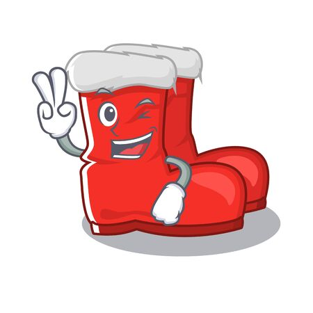 Two finger santa boots on cartoon shoe rack