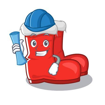 Architect santa boots on cartoon shoe rack  イラスト・ベクター素材