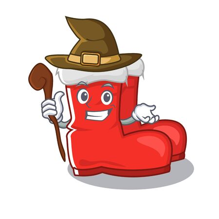 Witch santa boots mascot isolated the character