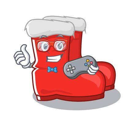 Gamer santa boots mascot isolated the character