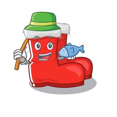Fishing santa boots mascot isolated the character vector illustration  イラスト・ベクター素材