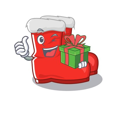 With gift santa boots mascot isolated the character vector illustration