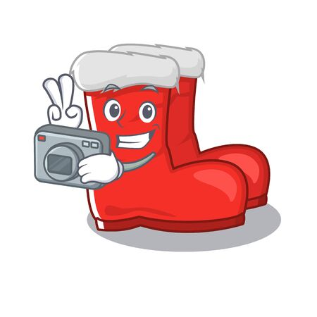 Photographer santa boots mascot isolated the character