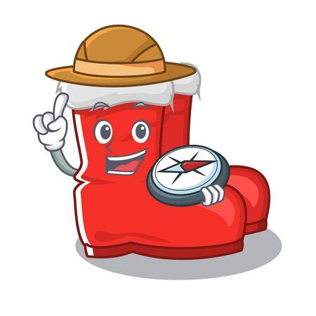 Explorer santa boots mascot isolated the character