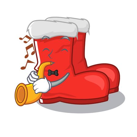 With trumpet santa boots mascot isolated the character  イラスト・ベクター素材