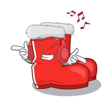 Listening music santa boots mascot isolated the character