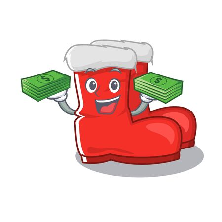 With money bag santa boots mascot isolated the character
