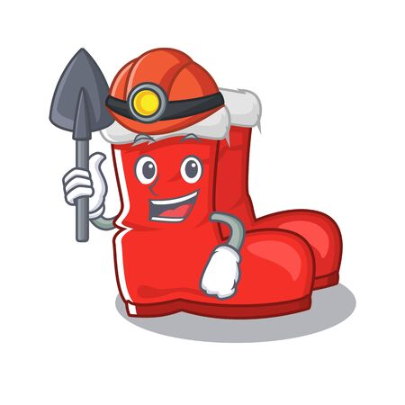 Miner santa boots mascot isolated the character vector illustration