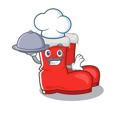Chef with food santa boots mascot isolated the character