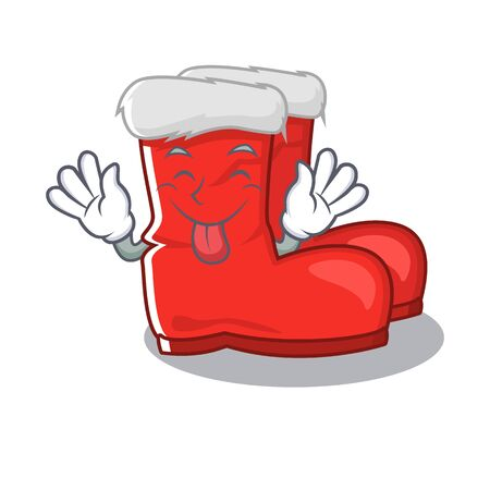 Tongue out santa boots with the cartoon shape Illustration