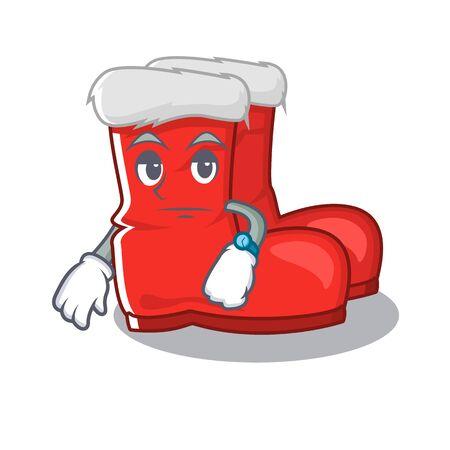 Waiting santa boots with the cartoon shape
