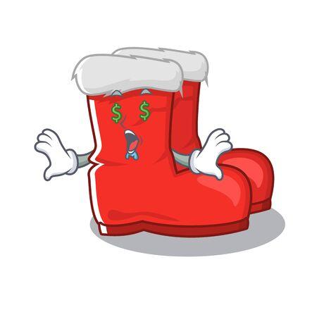 Money eye santa boots with the cartoon shape