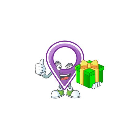 With gift pin location cartoon character with mascot vector illustration