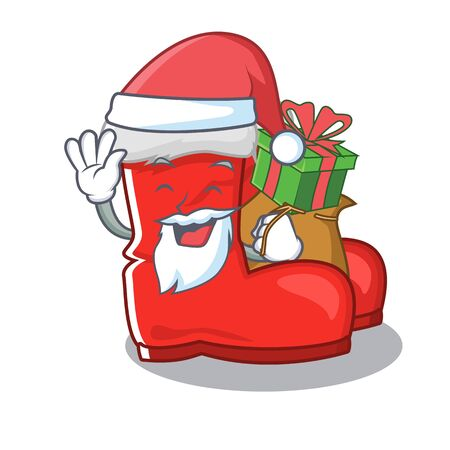 Santa with gift santa boots with the cartoon shape