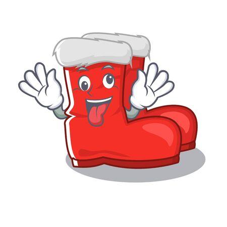 Crazy santa boots with the cartoon shape vector illustration Illustration