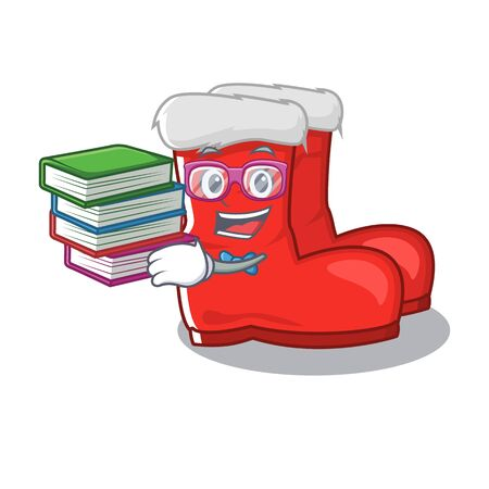 Student with book santa boots with the cartoon shape