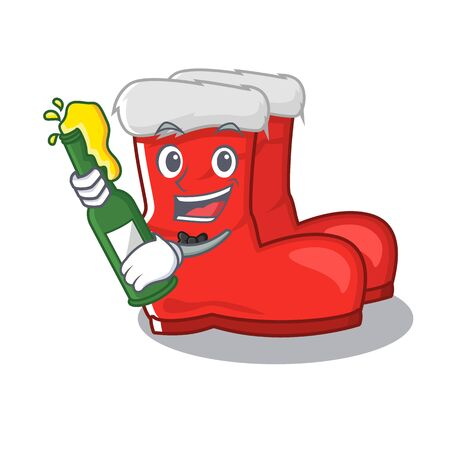 With beer santa boots with the cartoon shape Illustration