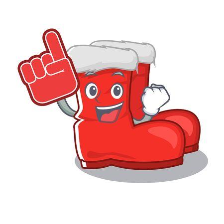 Foam finger santa boots with the cartoon shape vector illustration