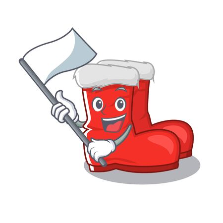 With flag santa boots with the cartoon shape vector illustration