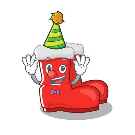 Clown santa boots with the cartoon shape vector illustration