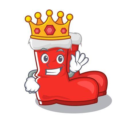 King santa boots with the cartoon shape vector illustration Illustration