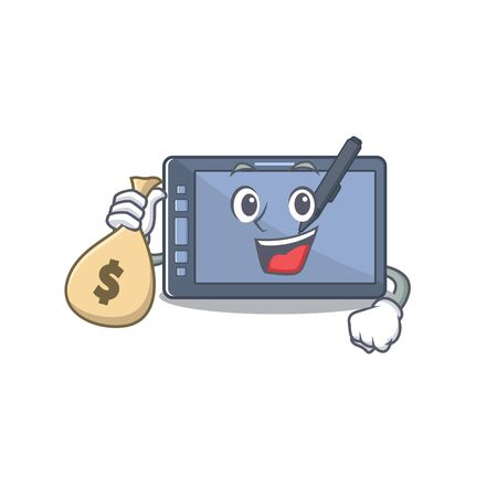 With money bag graphic tablet character with the cartoon