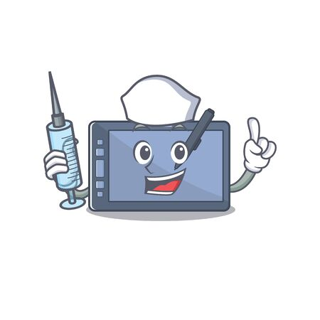 Nurse graphic tablet character with shape mascot vector illustration
