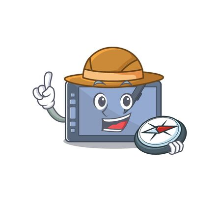 Explorer graphic tablet isolated in the cartoon vector illustration