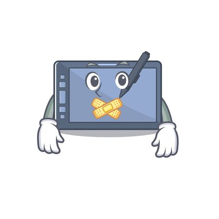 Silent graphic tablet on the mascot table Illustration