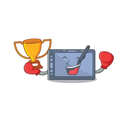 Boxing winner graphic tablet on the mascot table Illustration