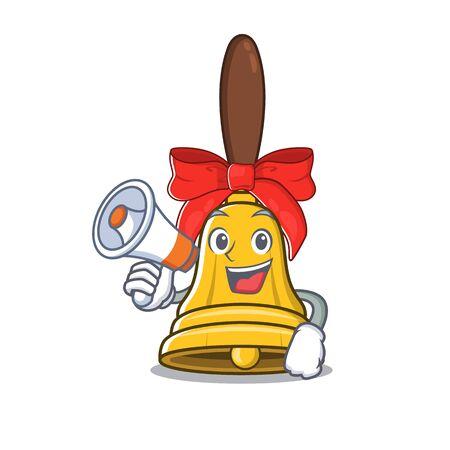 With megaphone christmas bells hung on cartoon christmas trees vector illustration
