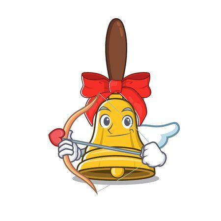 Cupid christmas bells hung on cartoon christmas trees Ilustração