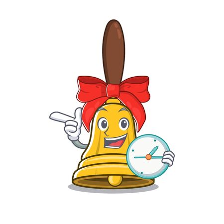 With clock christmas bells placed above mascot door