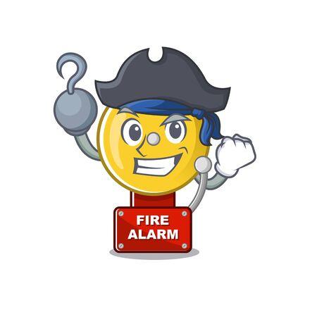 Pirate fire alarm stuck the cartoon wall