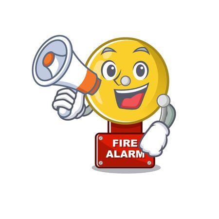 With megaphone fire alarm stuck the cartoon wall vector illustration