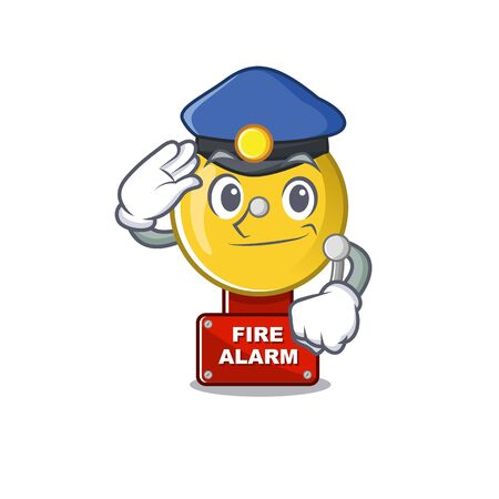 Police fire alarm stuck the cartoon wall vector illustration Illustration