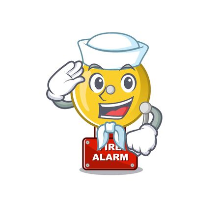Sailor fire alarm stuck the cartoon wall vector illustration