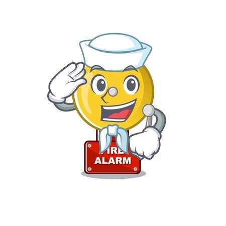 Sailor fire alarm stuck the cartoon wall vector illustration