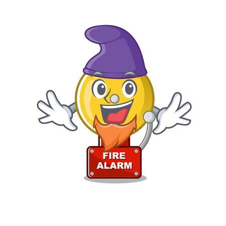 Elf fire alarm stuck the cartoon wall vector illustration Illustration