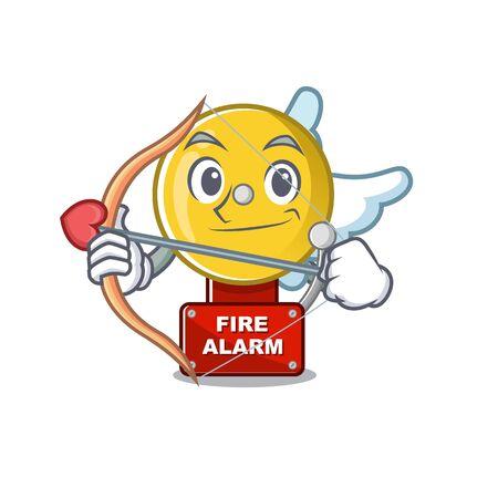 Cupid fire alarm stuck the cartoon wall Illustration