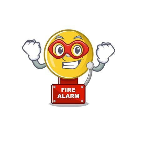 Super hero fire alarm isolated with the mascot