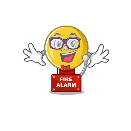 Geek fire alarm isolated with the mascot vector illustration