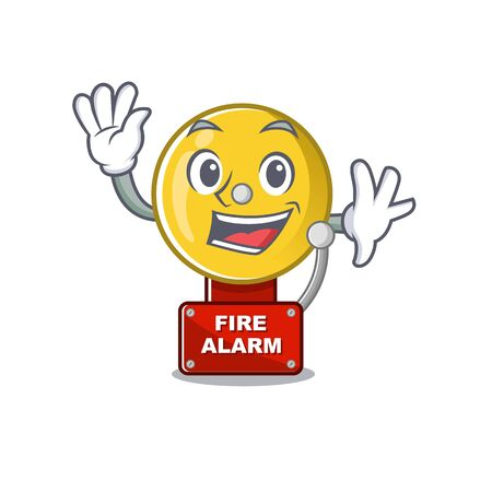 Waving fire alarm isolated with the mascot vector illustration