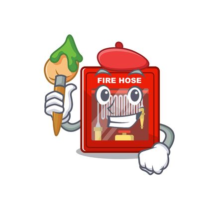 Artist fire hose cabinet on the mascot vector illustration Ilustrace