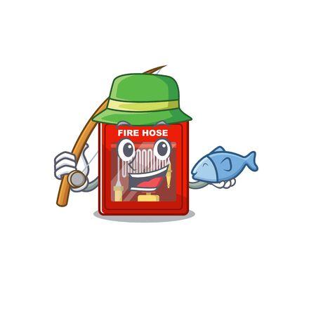 Fishing fire hose cabinet with cartoon shape vector illustration Stock Illustratie