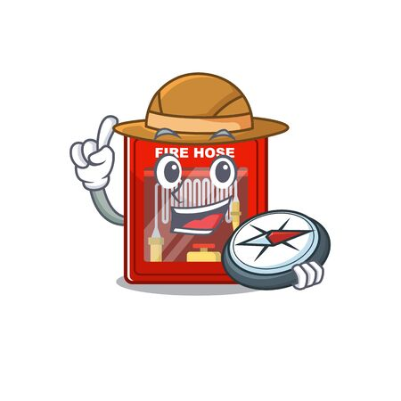 Explorer fire hose cabinet with cartoon shape vector illustration