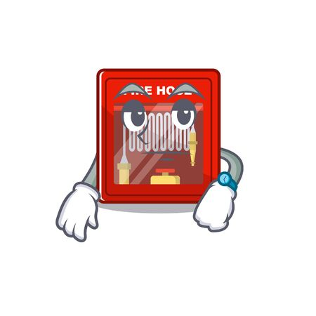 Waiting fire hose cabinet on the cartoon vector illustration