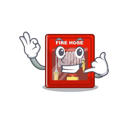 Call me fire hose cabinet on the cartoon vector illustration