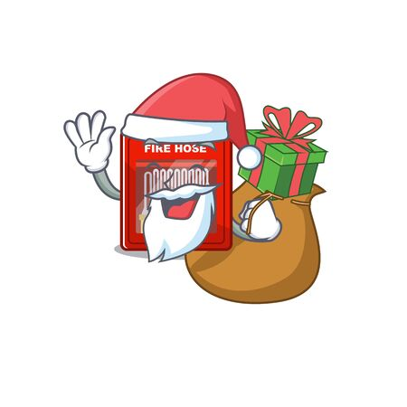 Santa with gift fire hose cabinet on the cartoon vector illustration