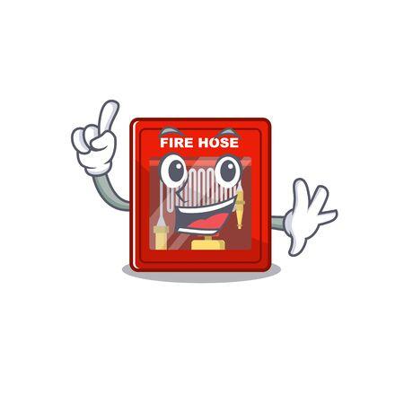 Finger fire hose cabinet on the cartoon vector illustration Stock Illustratie
